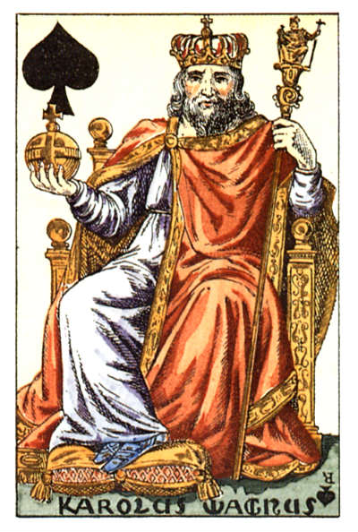 Charlemagne as the King of Spades in a card deck designed by Houbigant, ca. 1818
